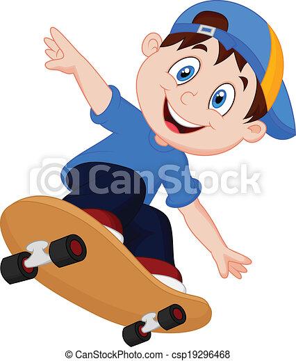 jongen, vrolijke , spotprent, skateboard - csp19296468