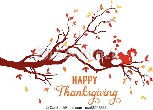 kaart, dankzegging, bladeren, het vallen, vector, boom eekhoorns, herfst - csp86218555