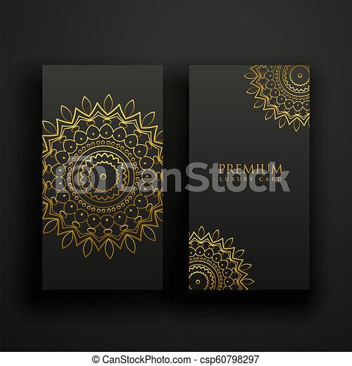 kaarten, mandala, black , luxe, goud - csp60798297