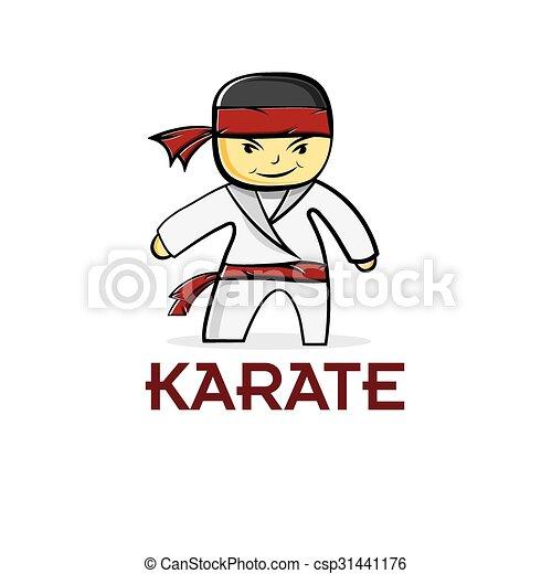 karate, jongen, spotprent - csp31441176