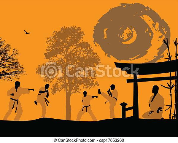 karate, ondergaande zon  - csp17853260