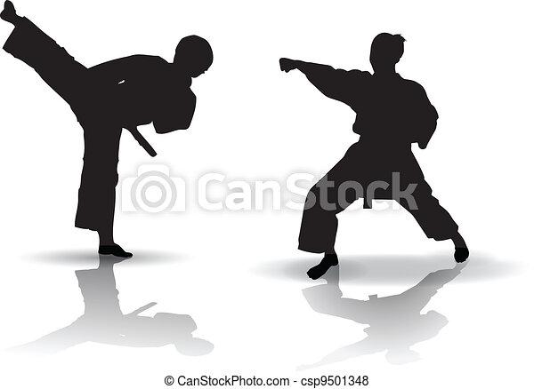 karate, silhouette - csp9501348
