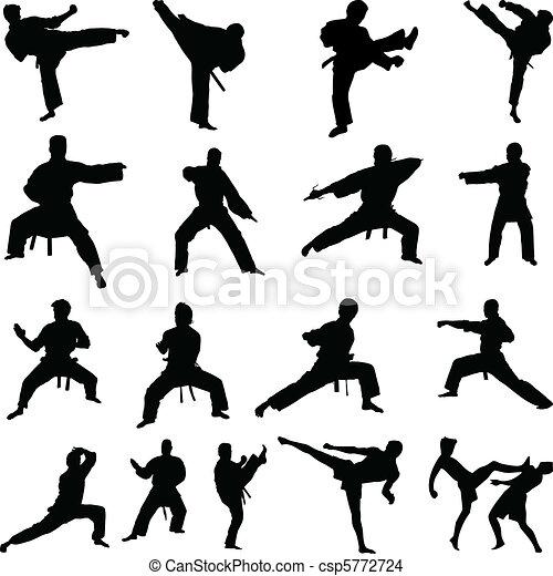 karate, silhouettes, maniertjes, gevarieerd - csp5772724