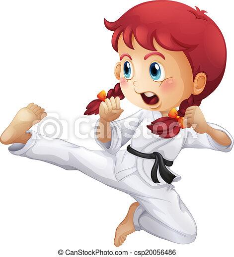 karate, weinig; niet zo(veel), energiek, meisje - csp20056486