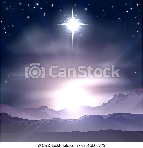 kerstmis, bethlehem, nativit, ster - csp15866779