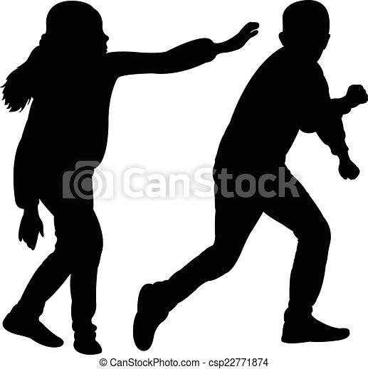 kinderen, vector, vecht, silhouette - csp22771874