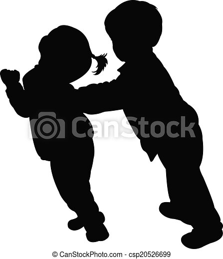 kinderen, vector, vecht, silhouette - csp20526699