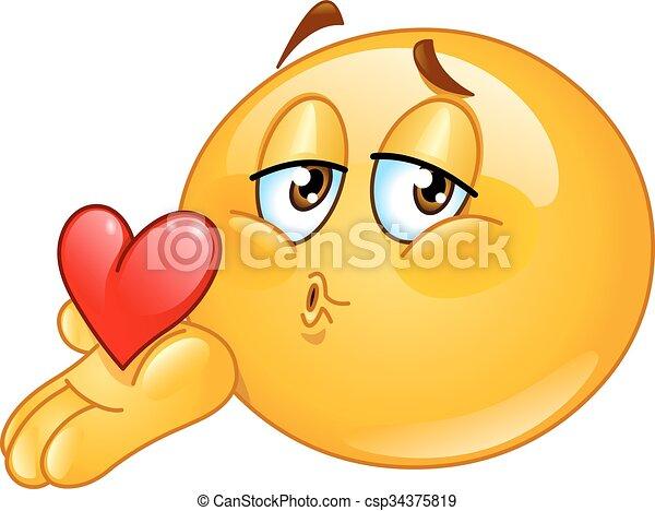 kus, mannelijke , blazen, emoticon - csp34375819
