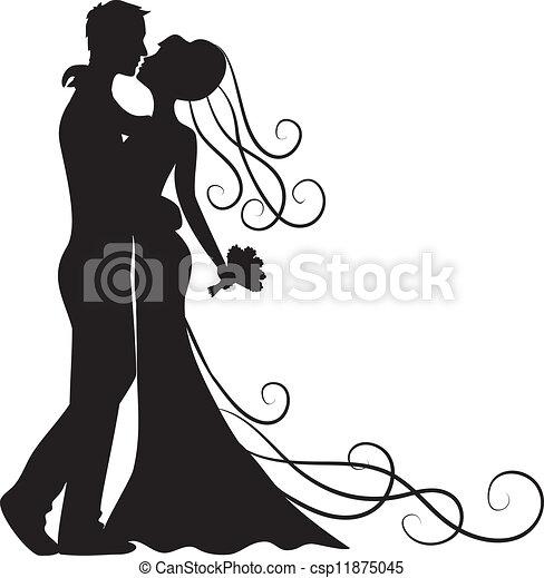 kussende , bruidegom, bruid - csp11875045