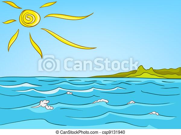 landscape, spotprent, zee, natuur - csp9131940