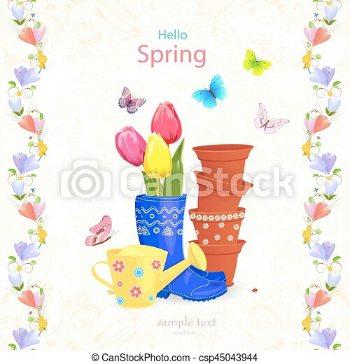 lente, regeling, tuinieren, bloemen, seamless, mooi - csp45043944
