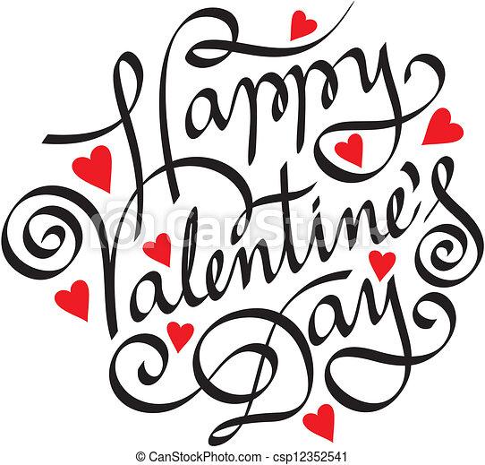 lettering, vrolijke , hand, dag, valentijn - csp12352541