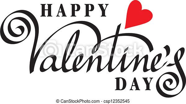 lettering, vrolijke , hand, dag, valentijn - csp12352545