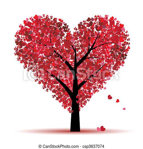 liefde, blad, boompje, hartjes, valentijn - csp3637074
