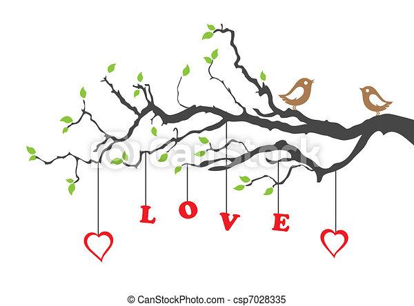 liefde, boompje, twee vogels - csp7028335