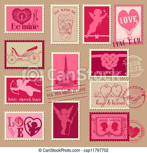 liefde, ouderwetse , -, valentijn, uitnodiging, postzegels, vector, plakboek, ontwerp - csp11797702