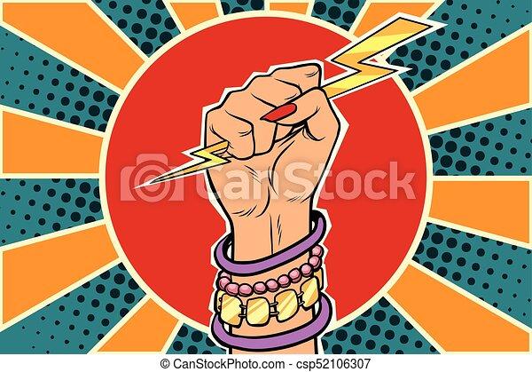 lightning, kaukasisch, meisje, fist., vrouw, macht - csp52106307