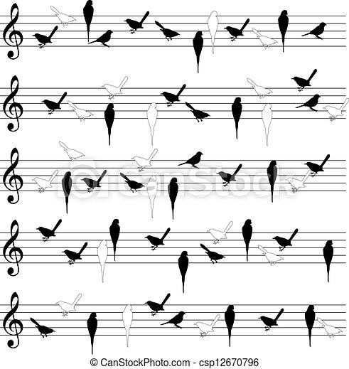 lijnen, vogel, aantekening - csp12670796