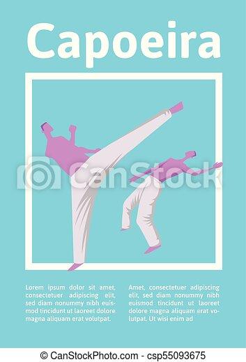 mannen, poster., illutration, capoeira, twee, traditionele , krijgshaftig, vector, fighting., mal, braziliaans, sportende, art. - csp55093675