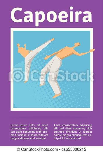 mannen, poster., illutration, capoeira, twee, traditionele , krijgshaftig, vector, fighting., mal, braziliaans, sportende, art. - csp55000215