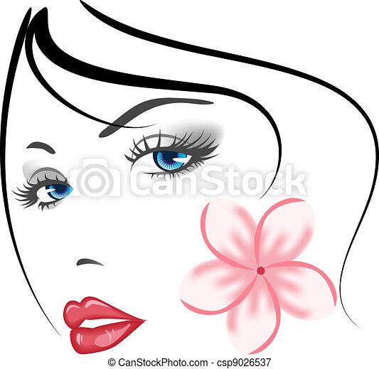 meisje, gezicht, beauty - csp9026537