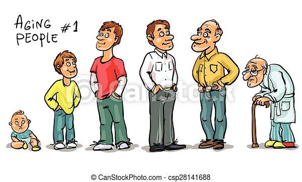 mensen, -, set, 1, het verouderen - csp28141688