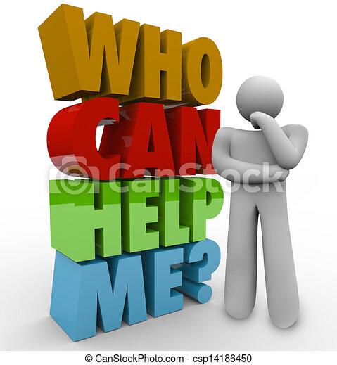 mij, klant, helpen, steun, nodig hebben, denker, groenteblik, man - csp14186450