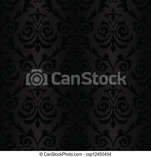 model, zijde, black , seamless, behang - csp12450434