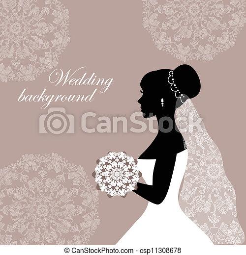 mooi, bruid, kant - csp11308678