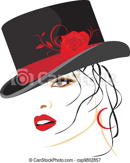 mooi, elegant, vrouw, hoedje - csp9802857