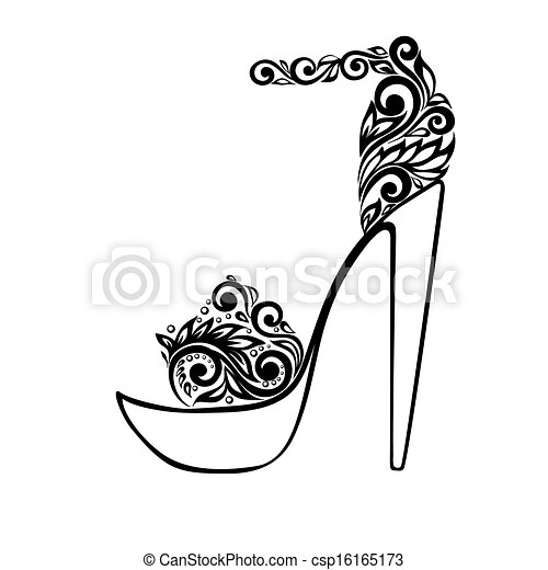 mooi, ornament, sandalen, black , floral, verfraaide, witte  - csp16165173