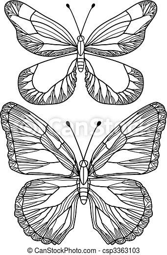 mooi, vlinder, vector - csp3363103