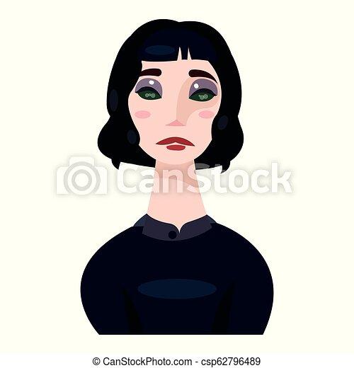 mooie vrouw, hars, black , hair., kleren - csp62796489