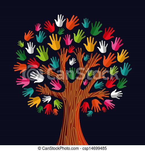 multi, sociaal, boompje, solidariteit, handen - csp14699485