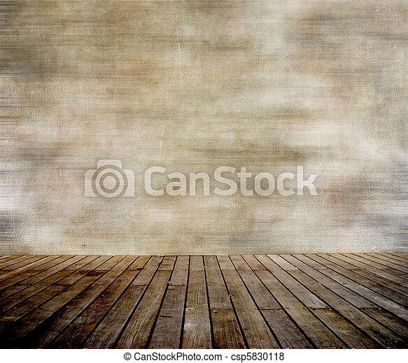 muur, paneled, hout, grunge, vloer - csp5830118