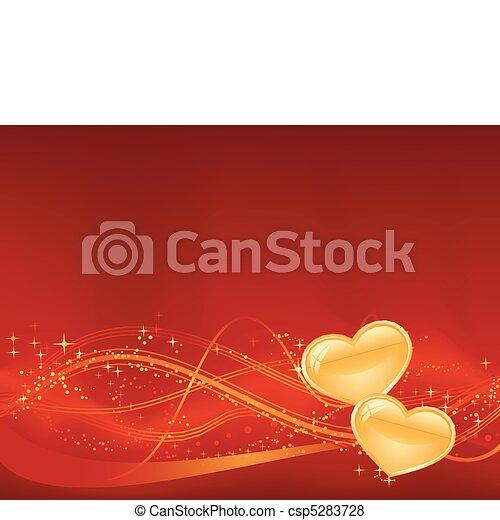 of, day., jouw, ontwerpen, third., achtergrond, groot, punten, hartjes, twee, golvend, romantische, gouden, sterretjes, model, rood, valentines, onderste - csp5283728