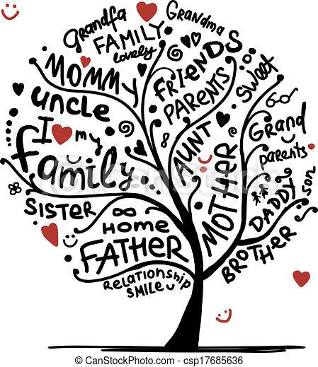 ontwerp, schets, boompje, jouw, gezin - csp17685636