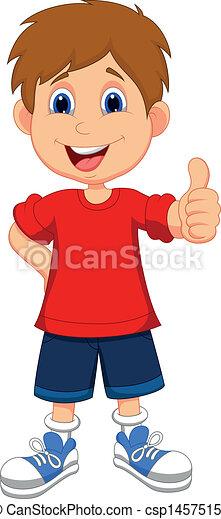 op, jongen, duimen, spotprent, u, geven - csp14575156
