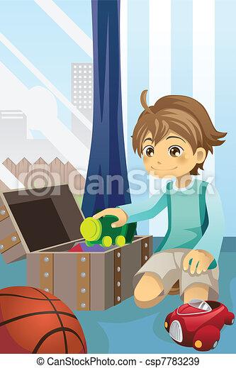 op, jongen, zijn, poetsen, speelgoed - csp7783239