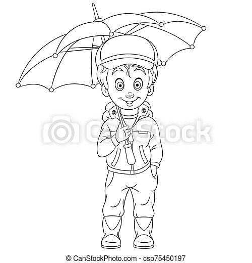 paraplu, de jongen van de pagina, kleuren - csp75450197