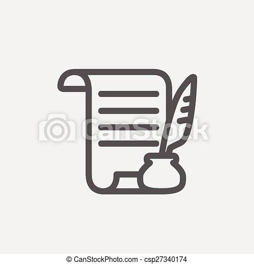 pen, papier, dune lijn, veer, boekrol, pictogram - csp27340174
