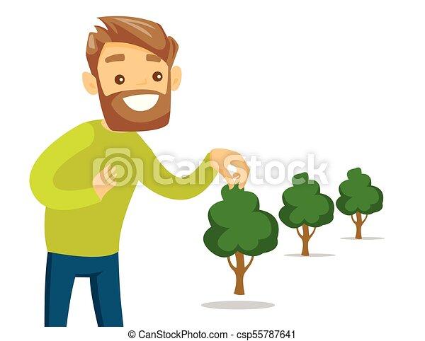 planten, jonge, boom., wite kaukasiër, tuinman - csp55787641