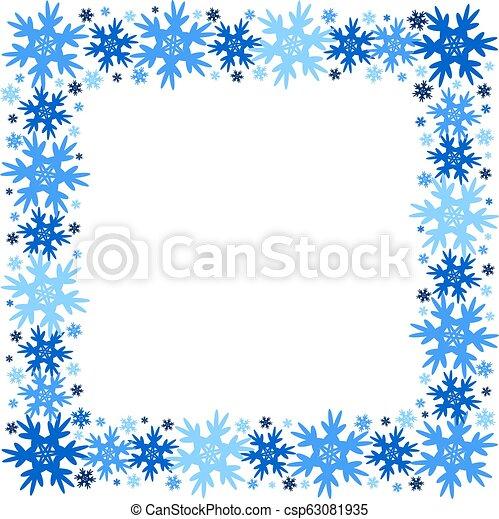 plein, winter, snowflakes., frame, isolated., vector - csp63081935