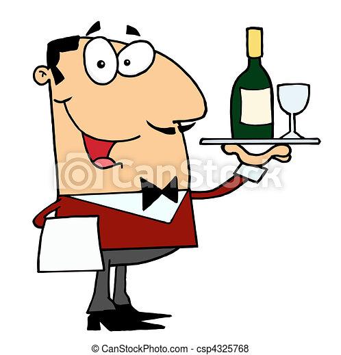portie, mannelijke , wijntje, kaukasisch, lakeien - csp4325768
