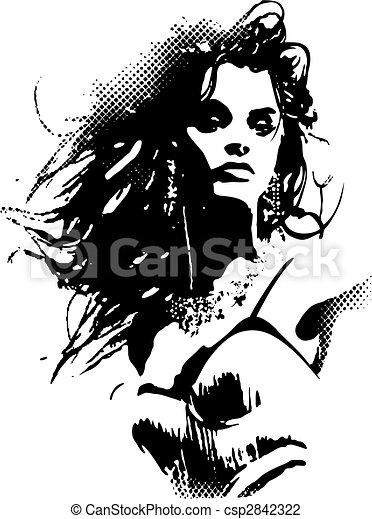 poster, vrouw, kunst, knallen - csp2842322