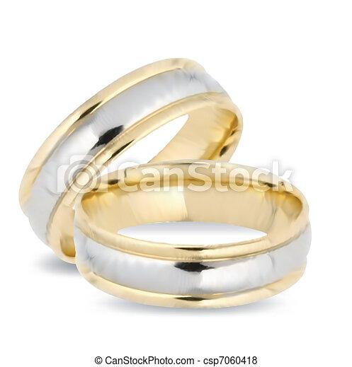 rings., vector, goud, trouwfeest - csp7060418