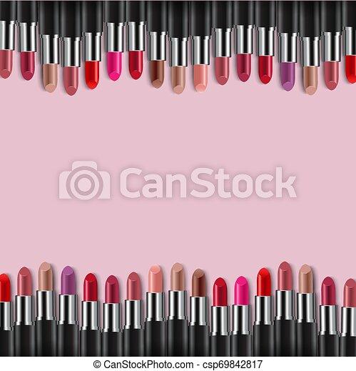 roze, randjes, kleurrijke, lipsticks, achtergrond - csp69842817