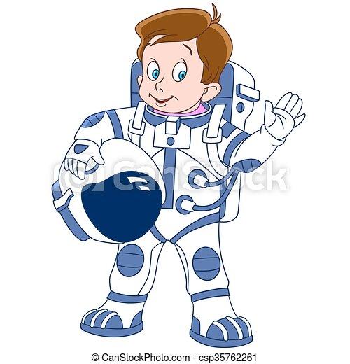 schattig, ruimtevaarder, spotprent, jongen - csp35762261