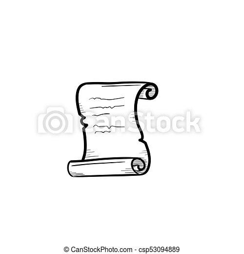 schets, oud, hand, papier, getrokken, icon., boekrol - csp53094889