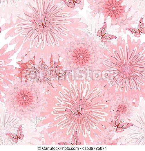 seamless, textuur, flowers., zich verbeelden, floral, delicaat - csp39725874